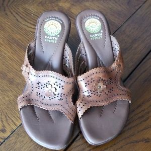 Earth Spirit Leather wedge sandals